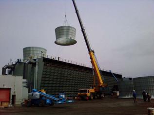 Rebuilding a cooling tower with our GMK- 5120b (120 Ton)
